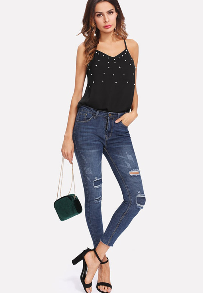 Pearl Embellished Cami Top - Loziy.com