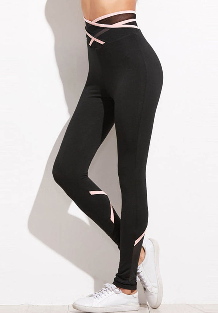 Black Striped Crisscross Leggings - Loziy.com