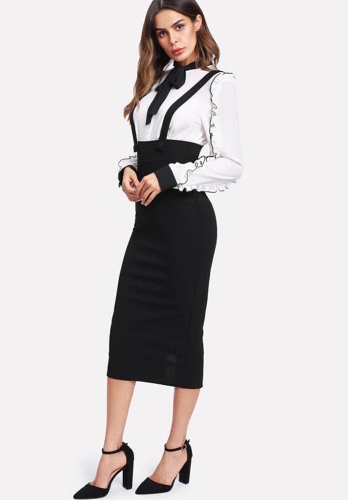 High Waist Slit Back Pencil Skirt With Strap - Loziy.com