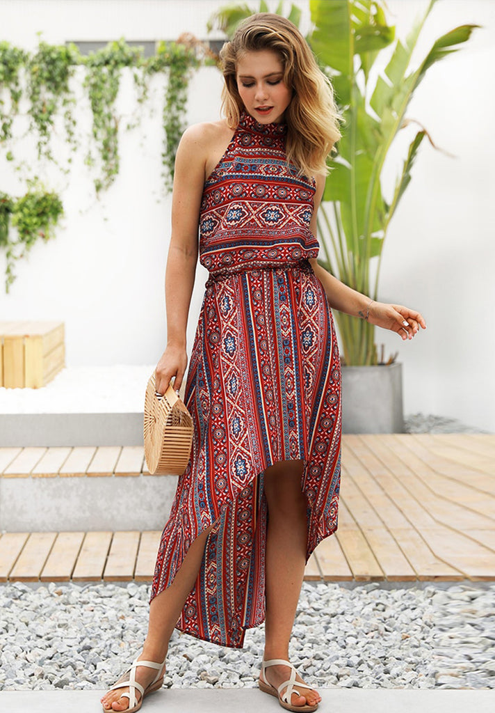 High-Low Paisley Print Halter Neck Dress - Loziy.com