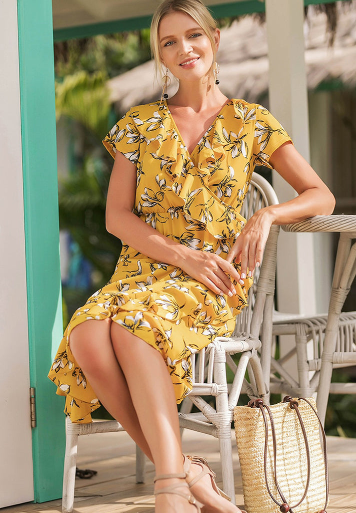Ruffle-Wrap-Floral-Mini-Dress