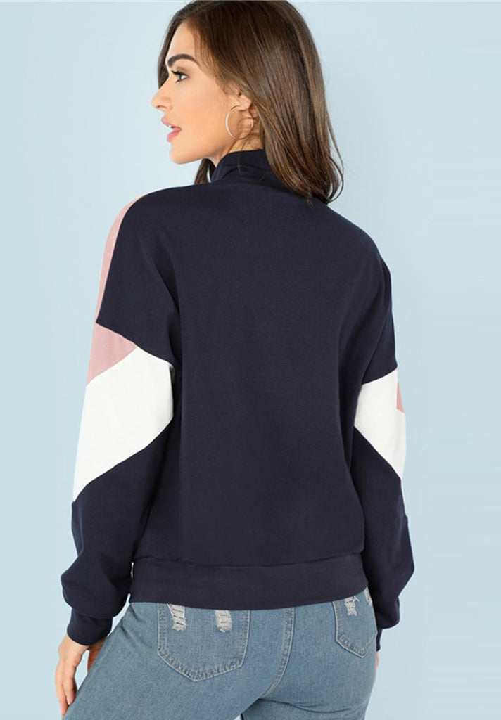 O-Ring Zip Front Cut and Sew Sweatshirt - Loziy.com