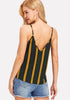 Double V Neck Striped Cami Top - Loziy.com