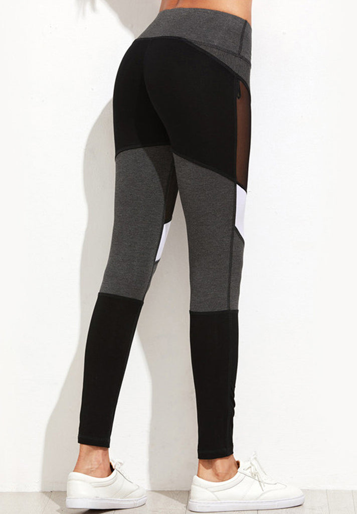 Color Block Mesh Insert Leggings - Loziy.com