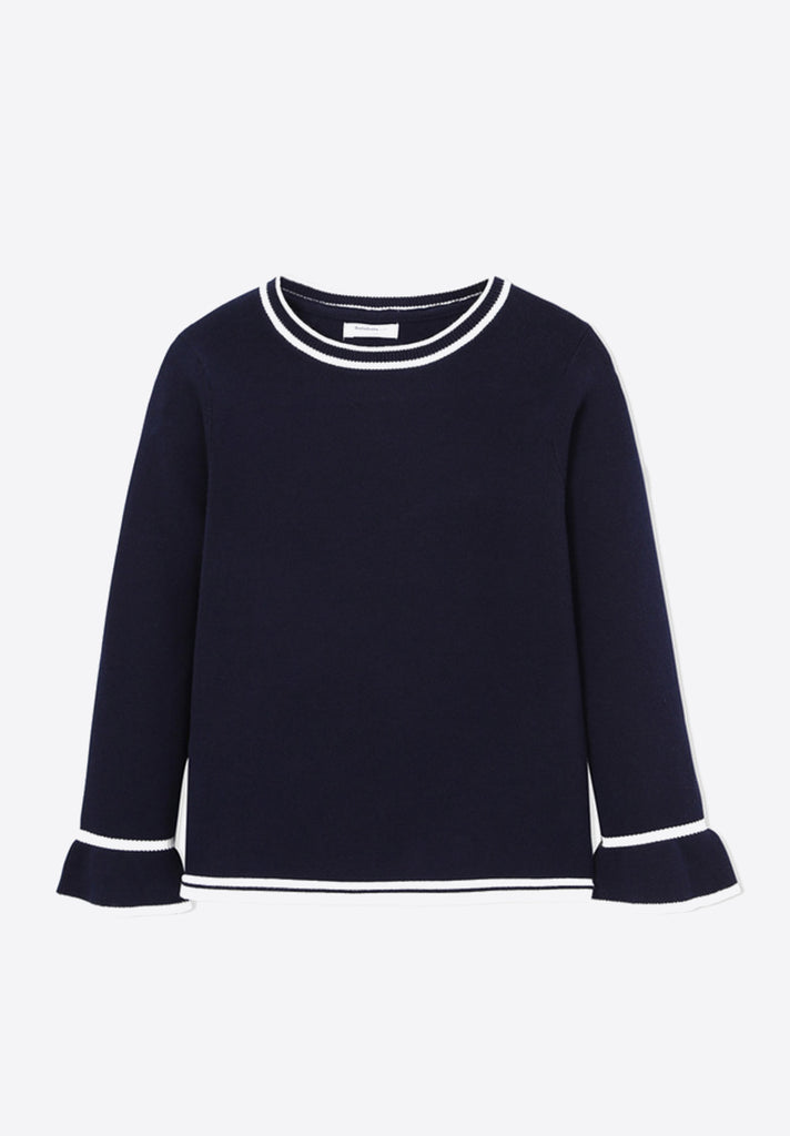 Knitted Flare Sleeve Sweater - Loziy.com