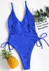 Side Lace Up One Piece Swimsuit