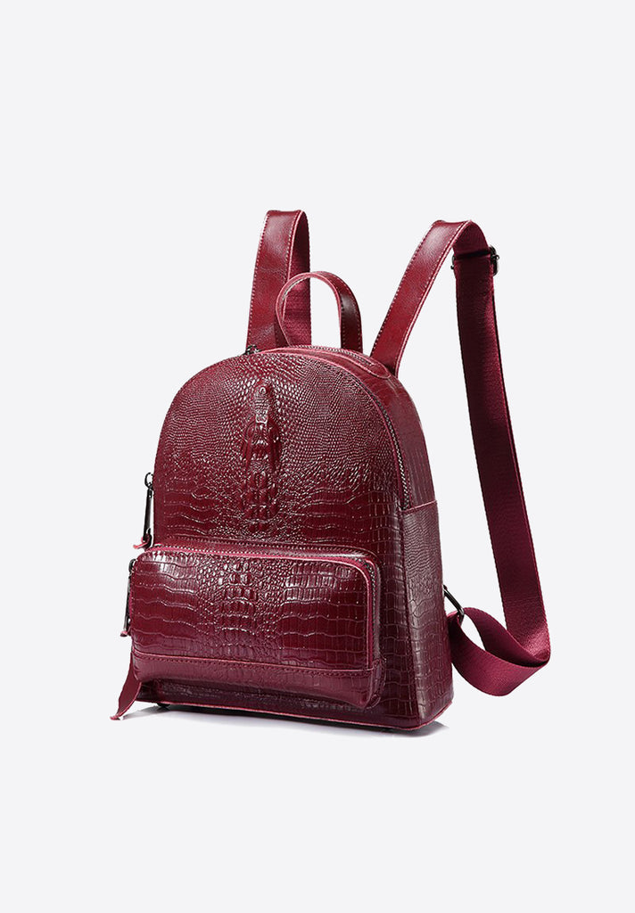Split Crocodile Print Backpack