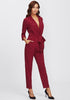 Burgundy Wrap And Tie Jumpsuit - Loziy.com