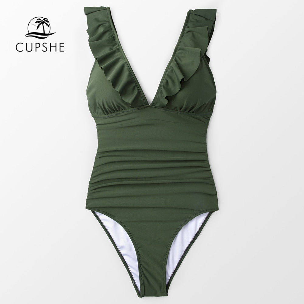 Ruffle Trim One Piece Swimsuit