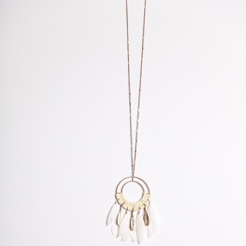 White Faux-Feather Pendant Necklace