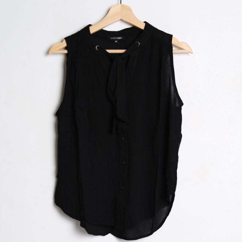 Black Sleeveless Woven Button Up Top