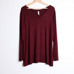 Long Sleeve Plus Solid V Neck