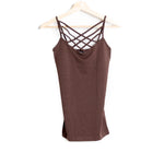 Brown Seamless Criss Cross Cami