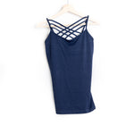 Navy Seamless Criss Cross Cami