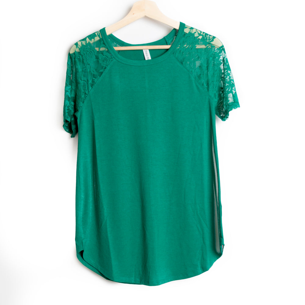 Forrest Green Lace Detail Short Sleeve Round Neck Top