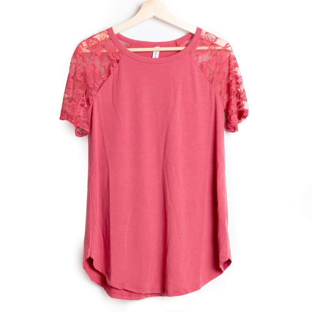 Rose Lace Detail Short Sleeve Round Neck Top