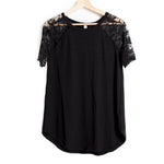 Black Lace Detail Short Sleeve Round Neck Top