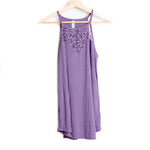 Purple Lace Sleeveless Halter Top