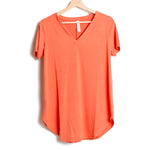 Copper Short Sleeve V Neck Round Hem