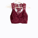 Burgundy Lace Hourglass Back With Lining Bralette