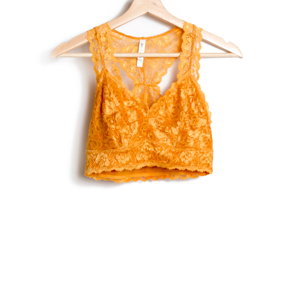 Mustard Lace Hourglass Back With Lining Bralette