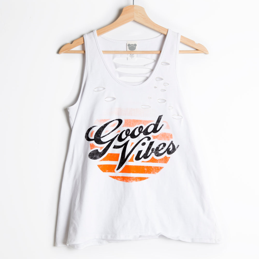 Good Vibes Distressed Tank
