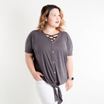 Charcoal Short Sleeve Button Down Tie Front Top