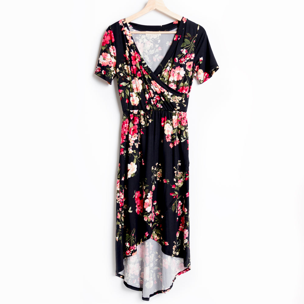 Black Floral Hi-Lo Midi Dress