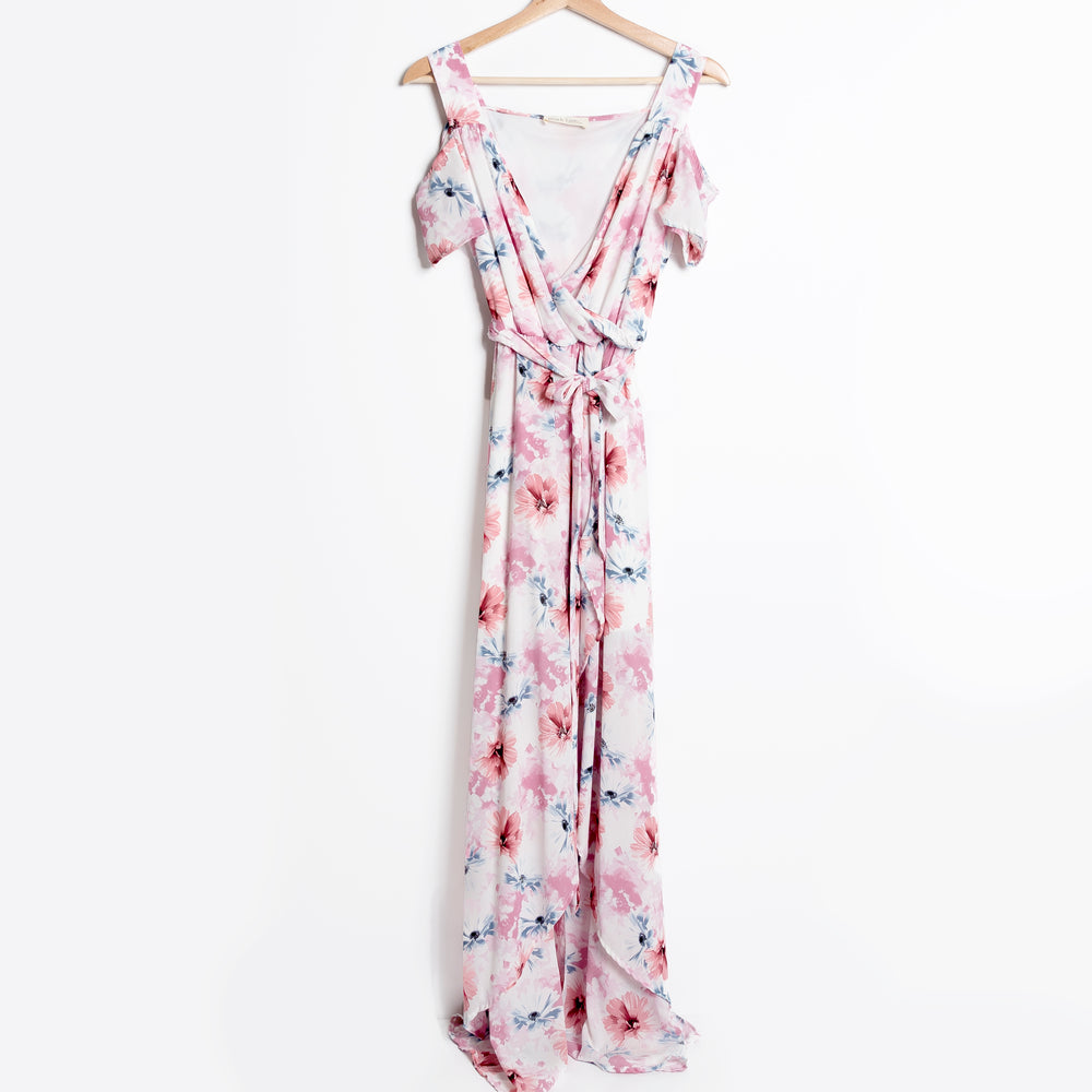 Floral Off the Shoulder Hi-Lo Maxi Dress