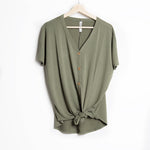 Olive Short Sleeve Button Down Tie Front Top