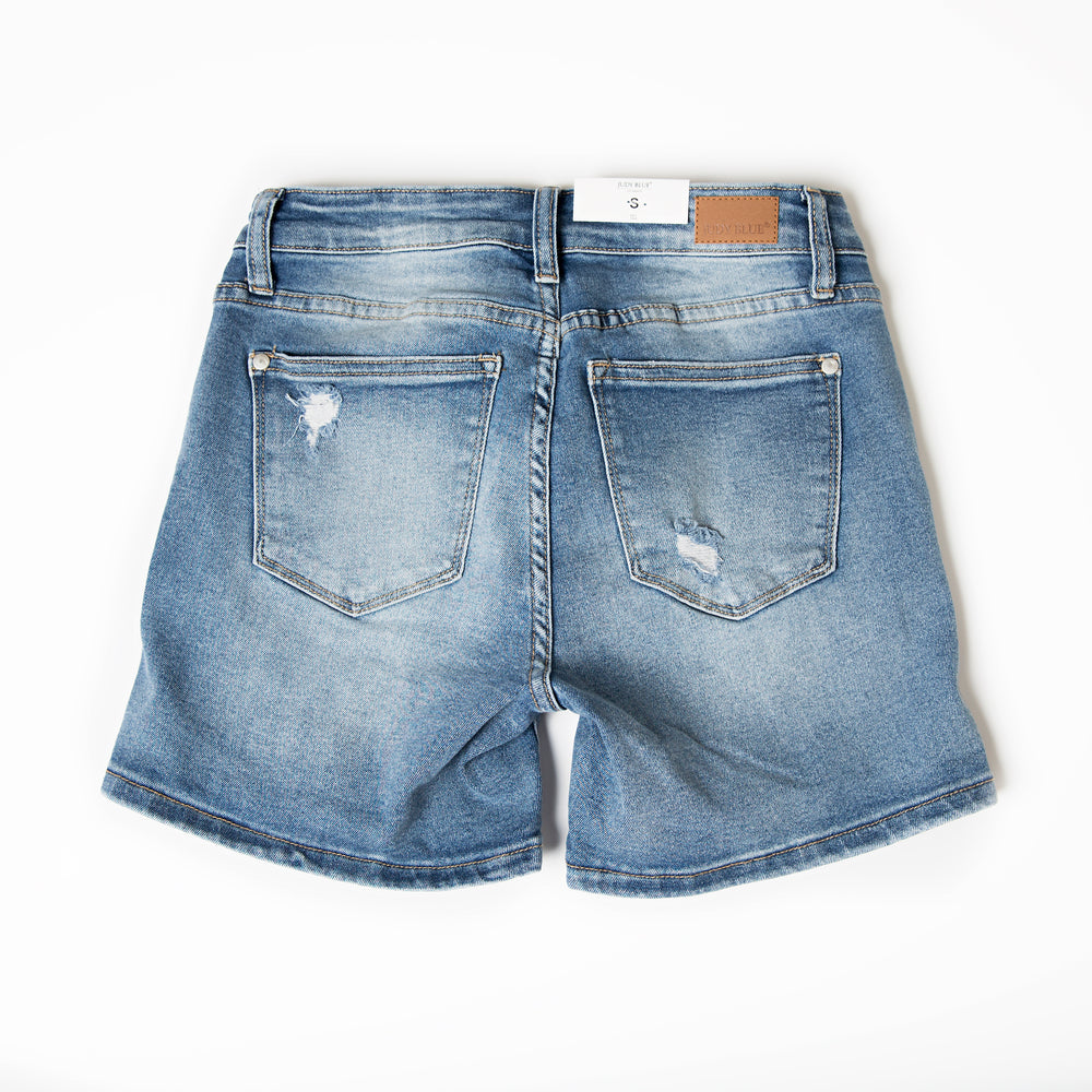 Judy Blue Medium Blue Mid-Thigh Distressed Shorts