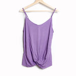 Violet Tank Top with Adjustable Spaghetti Straps and Front Knot