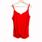 Red Tank Top with Adjustable Spaghetti Straps and Front Knot