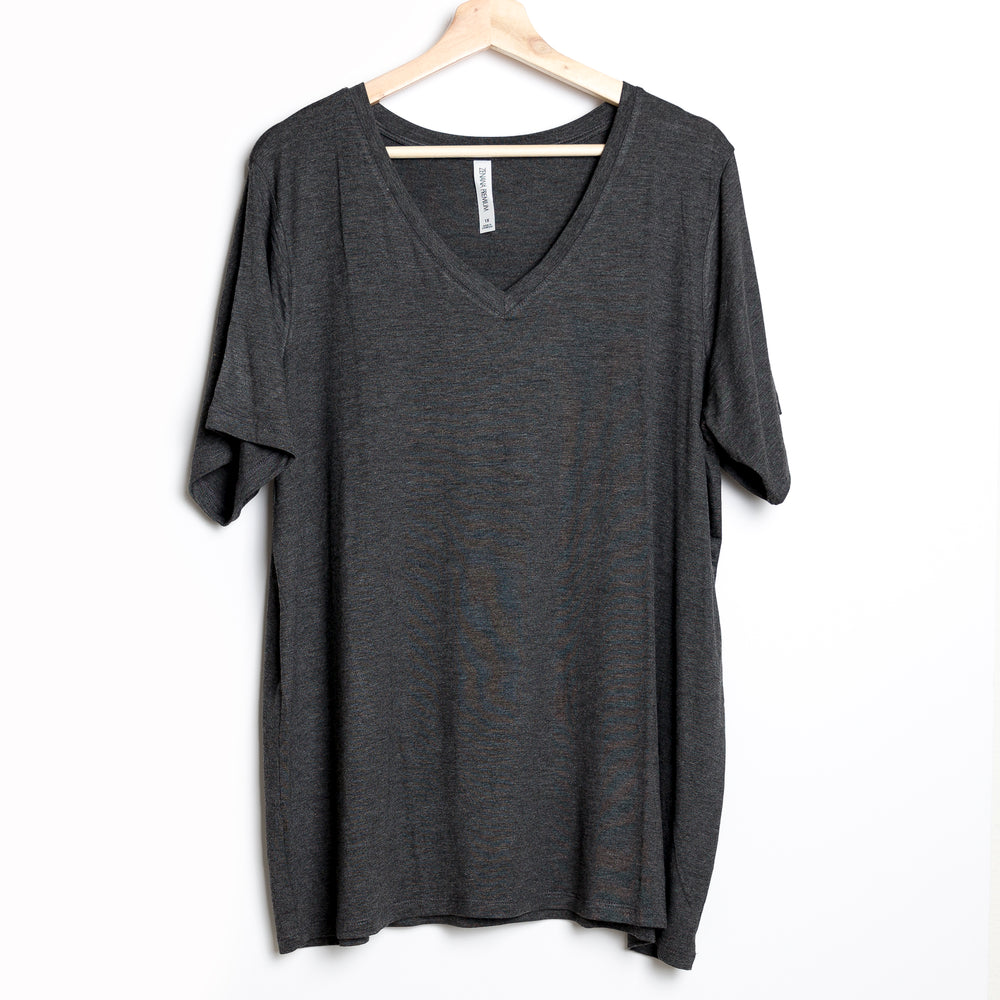Gray Solid V-Neck Plus Tee
