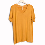 Marigold Solid V-Neck Plus Tee