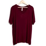 Maroon  Solid V-Neck Plus Tee