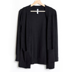 Black Open Cardigan Sweater With Pockets