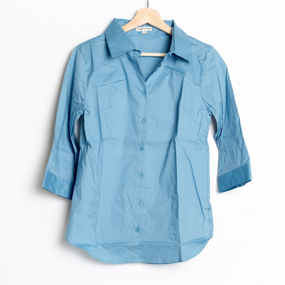 Ocean Blue 3/4 Folded Sleeve Button Down Top