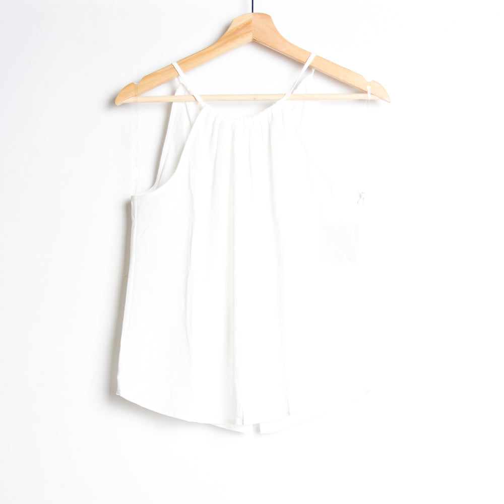 Off White Halter Neck Back Button Down Woven Top