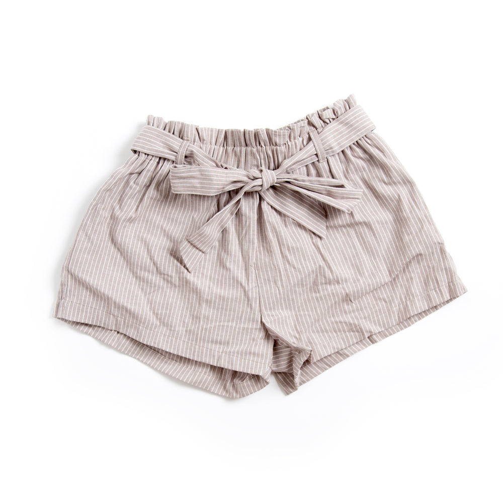 Khaki and White Striped Paperbag Shorts with Bow