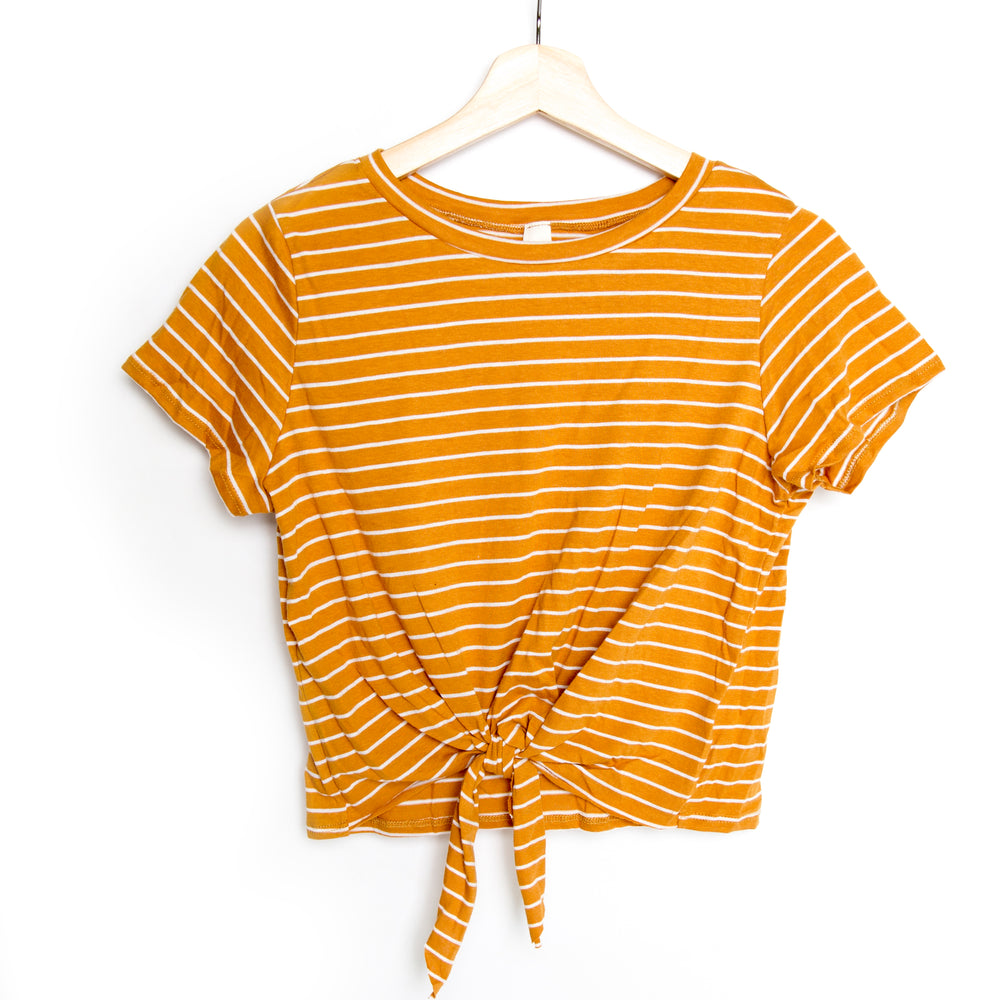 Mustard Cotton Striped Jersey Short Sleeve Front Knot Top