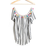 Off the Shoulder Woven Striped Top with Neon Tassel Trim