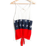 Red White and Blue Criss Cross Tank Top with Front Tie