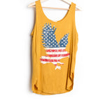 Mustard Eagle Sleeveless Deep U-Neck Top