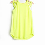 Neon Green Jersey Knit Halter Neck Top with Criss Cross Detail