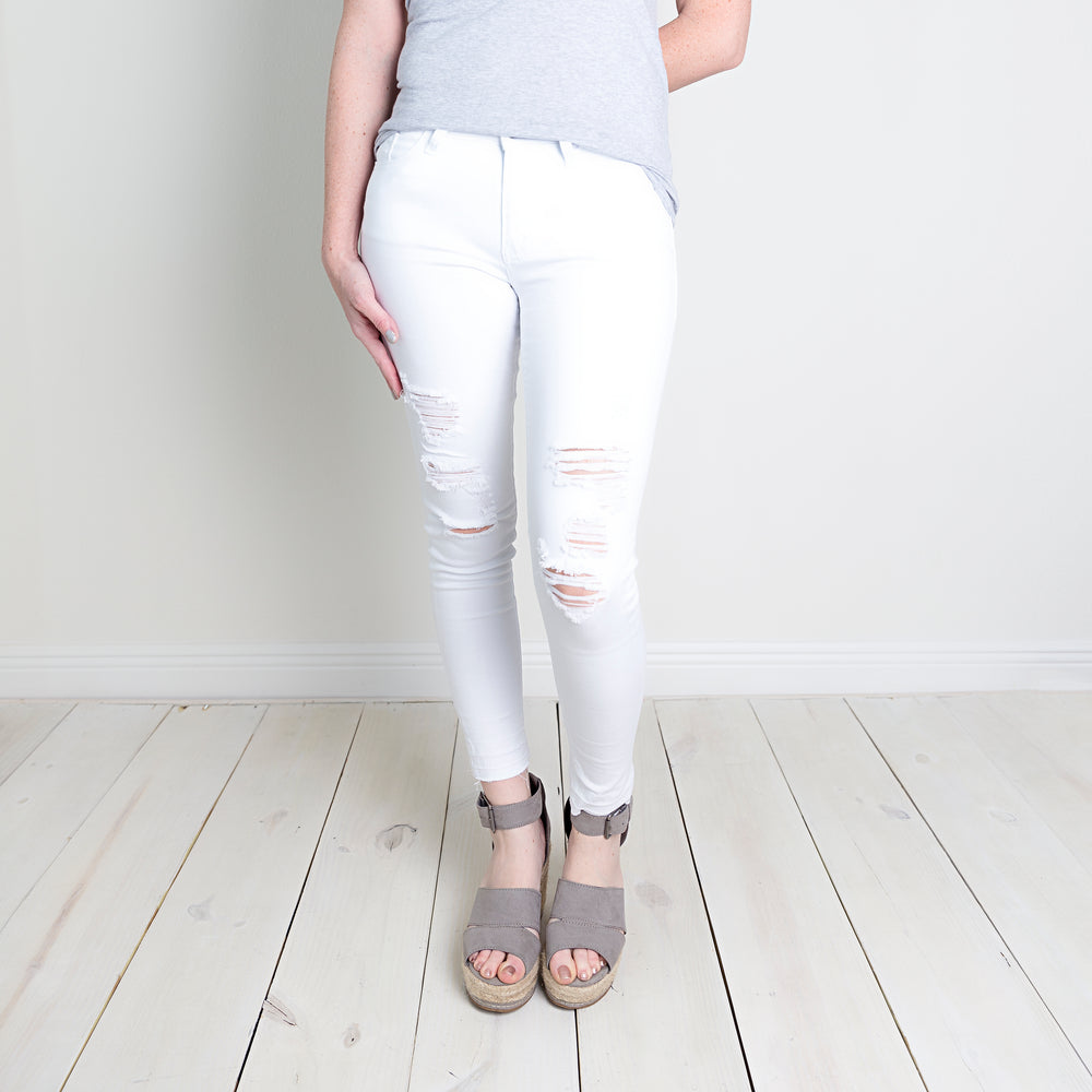 Kancan White Distressed Jeans
