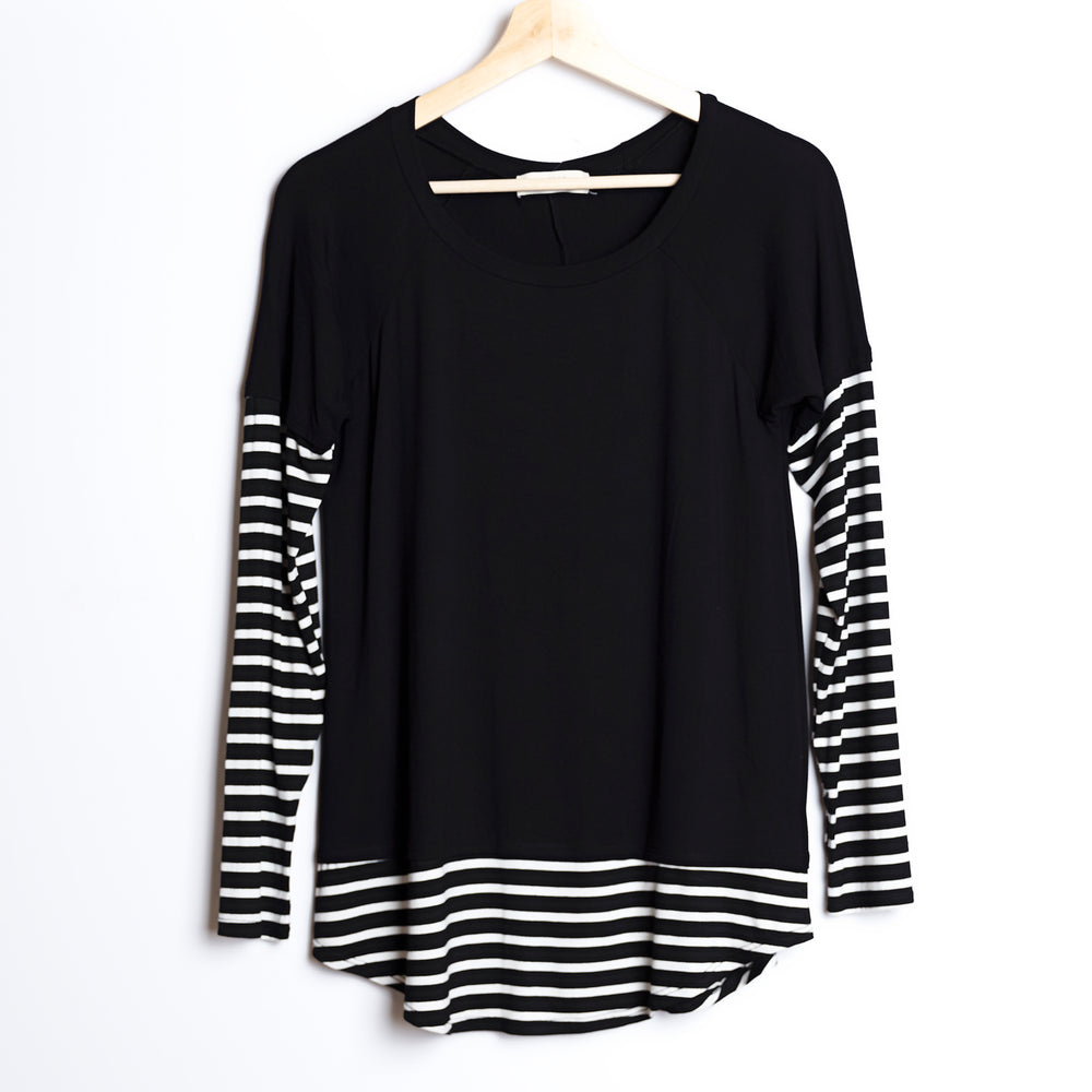 Partially Striped Long Sleeve with Thumb holes