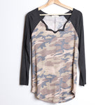 Camouflage V-neck Long Sleeve
