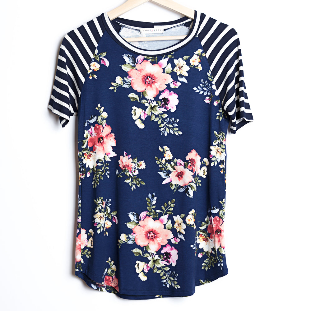 Baseball Tee Floral and Stripes
