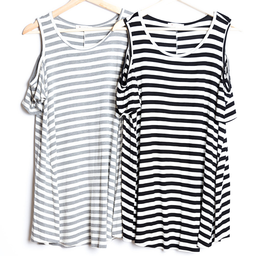 Cold Shoulder Striped Short Sleeve Tunic